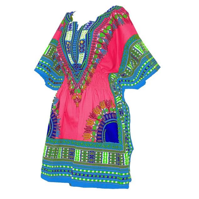 Women Dashiki top 100% Cotton Mini Embroidered Elastic Waist Summer Dress