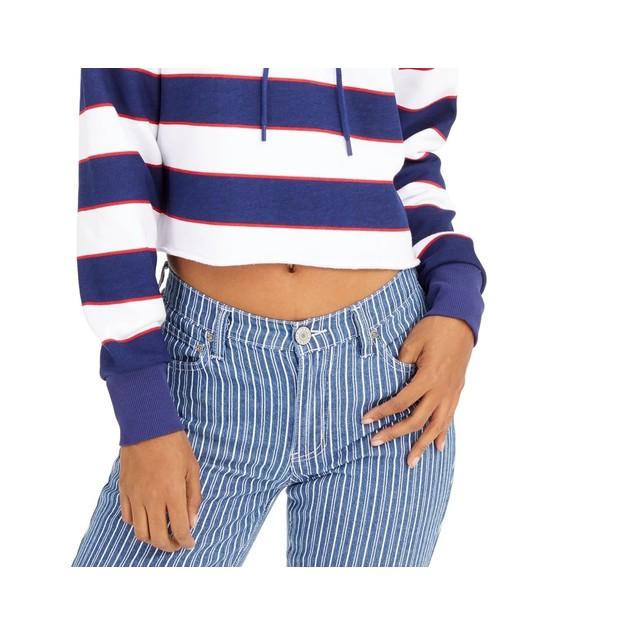 Dickies Junior's Striped Logo Cropped Hoodie Red overflw Size Medium