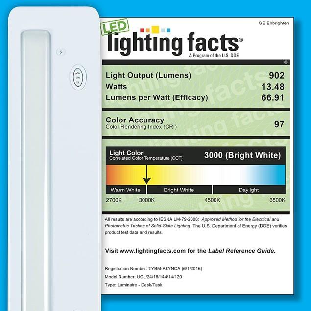 "GE Enbrighten 18"" LED 631 Lumens Wire Under Dimmer Cabinet Light, White"