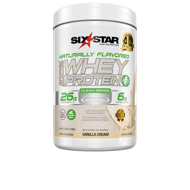 Six Star Naturally Flavored Whey Protein, Vanilla Cream, XS-Man, 1.5 Pounds