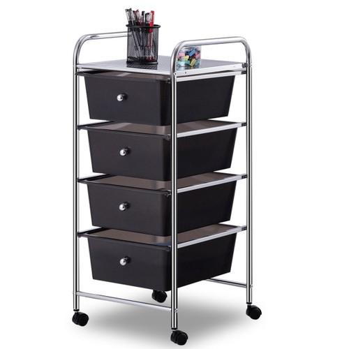 Costway 4 Drawers Metal Rolling Storage Cart Scrapbook Supply & Paper Home