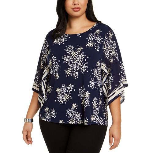 Alfani Women's Plus Size Printed Kimono-Sleeve Top Navy Size XX-Large