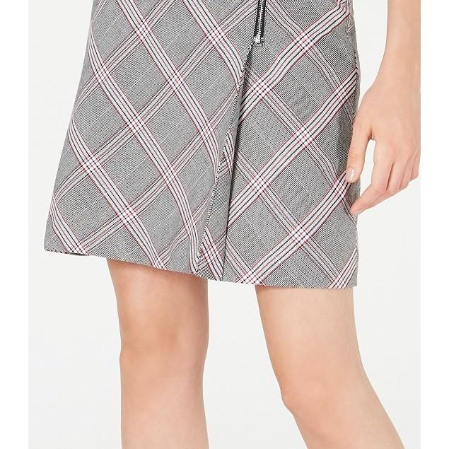 Bar III Women's Zipper-Detail Plaid Skirt  Gray Size 6