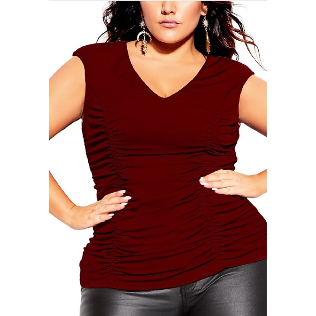 City Chic Women's Trendy Plus Ruched Top Medium Red Size Petite Small