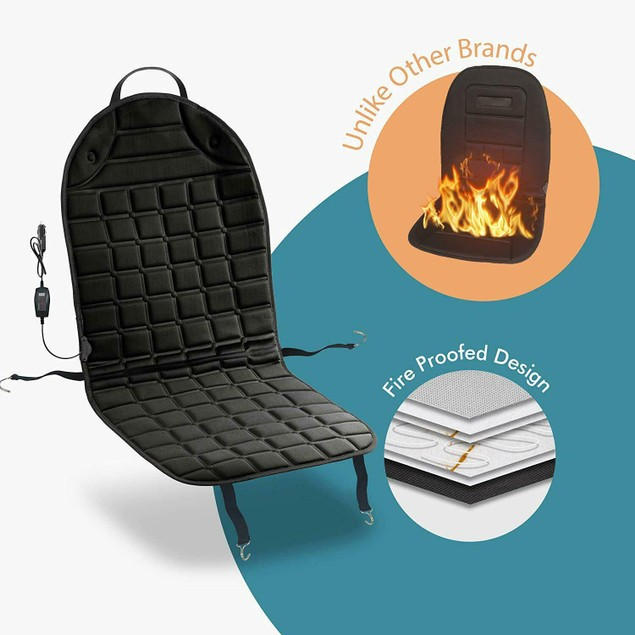 Zone Tech 12V 2x Heated Car Seat Cushion 1 Integrated Plug 45 Min Timer