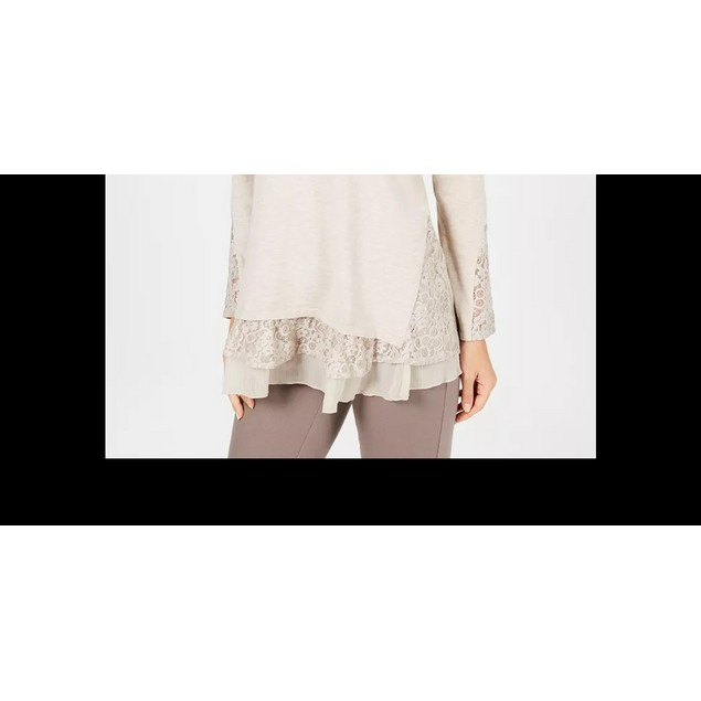 Style & Co Women's Layered-Look Tunic Lt Beige Size Small