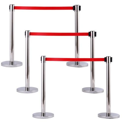 Costway 6Pcs Stanchion Posts Queue Pole Retractable Red Belt Crowd Control