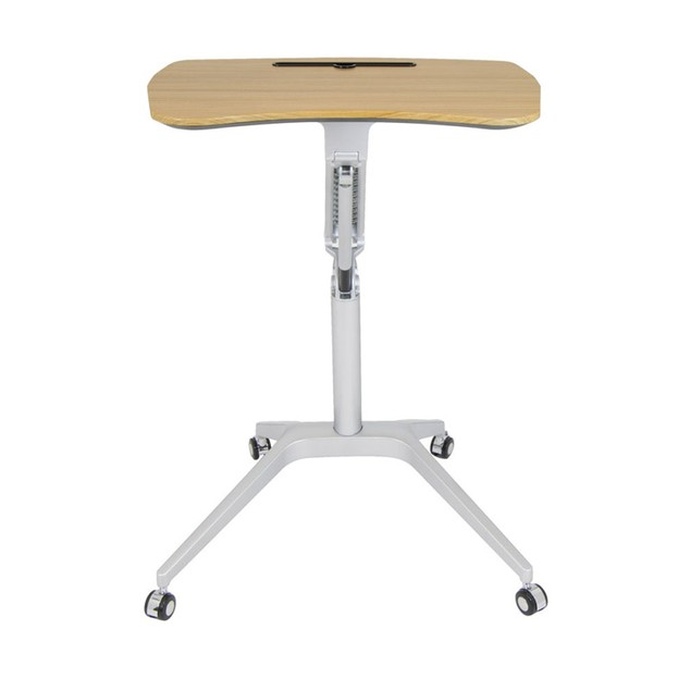 Offex Ridge Mobile Desk, Stand Up Pneumatic Cart - Silver/Maple
