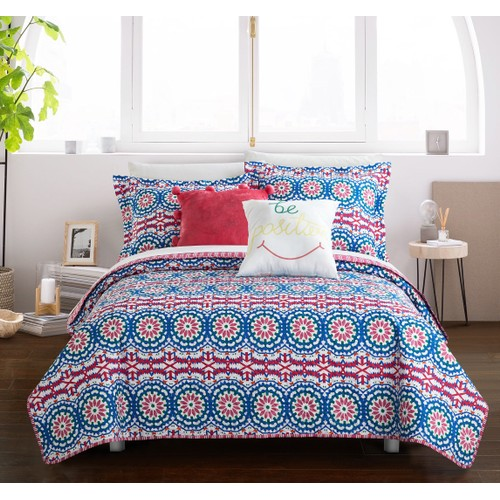 4 or 5 Piece Isko Floral Bohemian Printed Reversible Quilt Cover Set