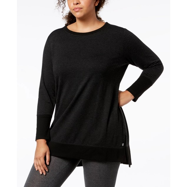 Ideology Women's Performance Stripe Long Sleeve Top Black Size 3X