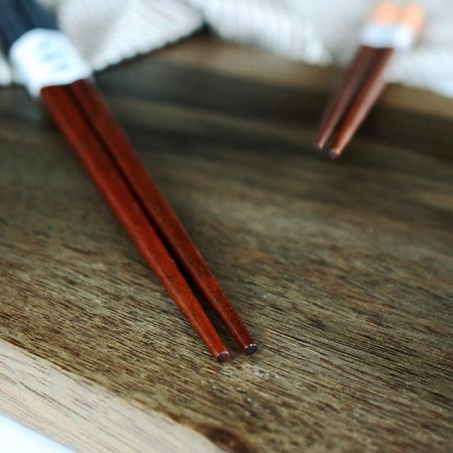 2 Pairs Handmade Japanese Natural Chestnut Wood Chopsticks