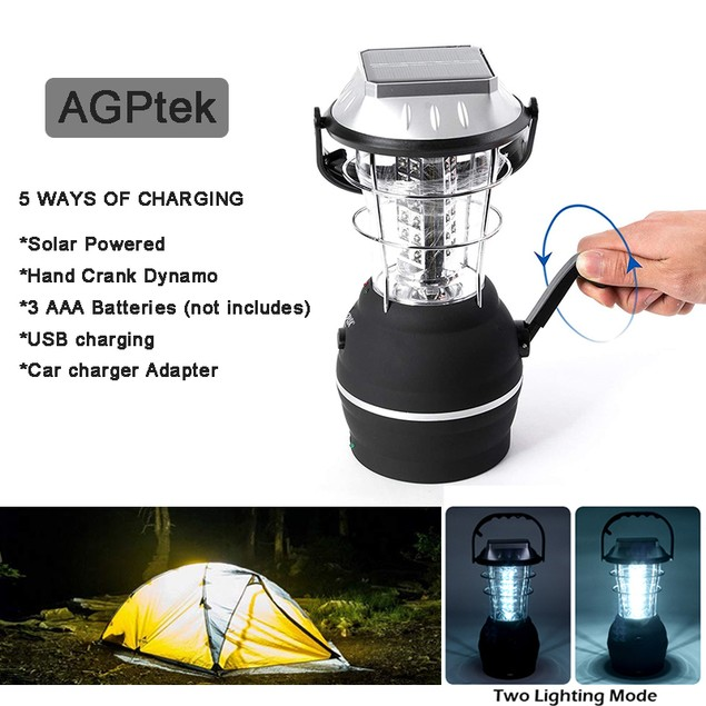 36 LED SOLAR CAMPING LIGHT WATERPROOF HAND CRANK DYNAMO USB RECHARGEABLE