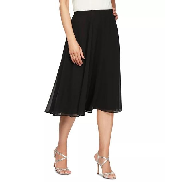 Alex Evenings Women's Chiffon Midi Skirt Black Size Medium