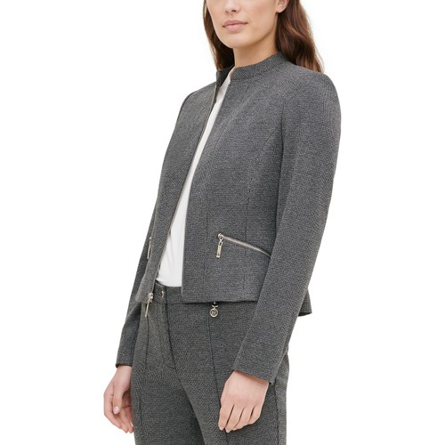 Tommy Hilfiger Women's Zip-Up Moto Jacket Gray Size 14