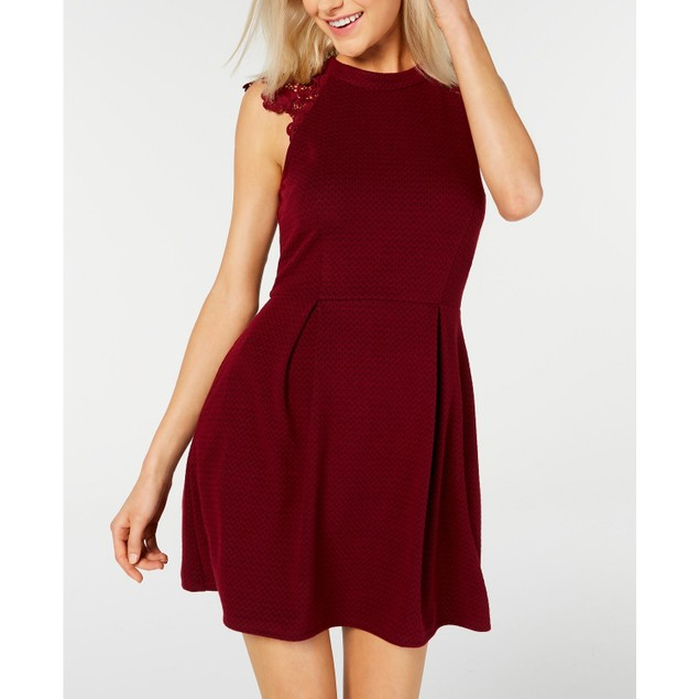 Speechless Juniors' Lace-Shoulder Knit Skater Dress Red Size Small