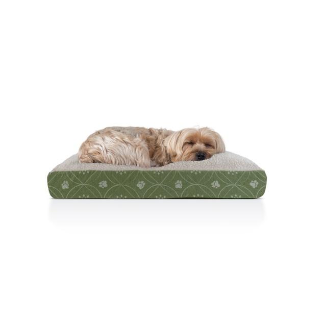 Furhaven Faux Sheepskin & Flannel Paw Dcor Deluxe Pillow Pet Bed