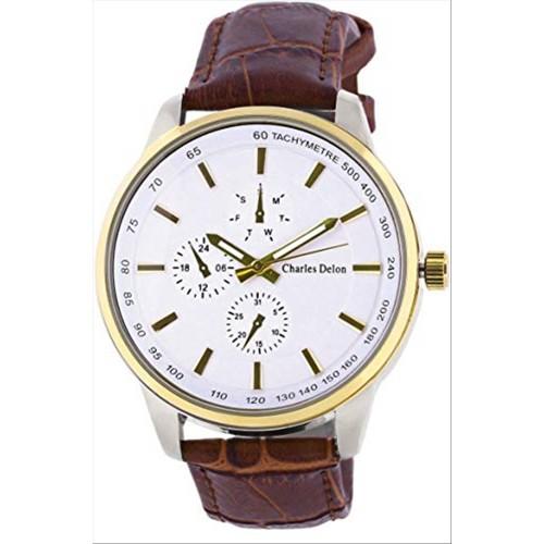 Charles Delon Men's Watches 5720 GTWN Brown/Gold Leather Quartz Round Analog