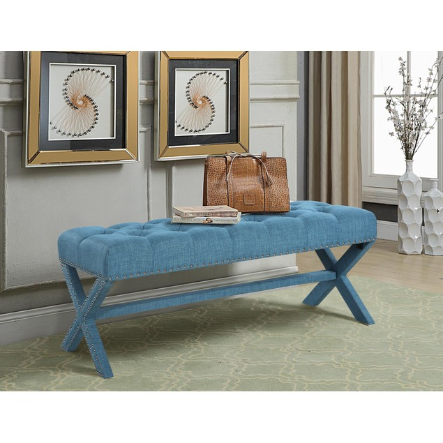 Chic Home Mischa Updated Neo Traditional Nailhead Tufted Linen X Bench