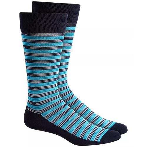 Alfani Men's Triangle Stripe Socks Navy Size Regular