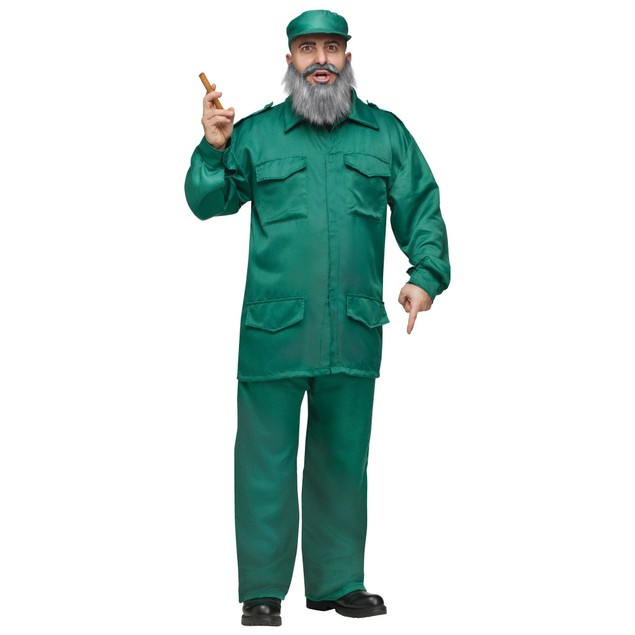 Communist Dictator Costume Mens Adult Fidel Castro Cuban Presidente Green