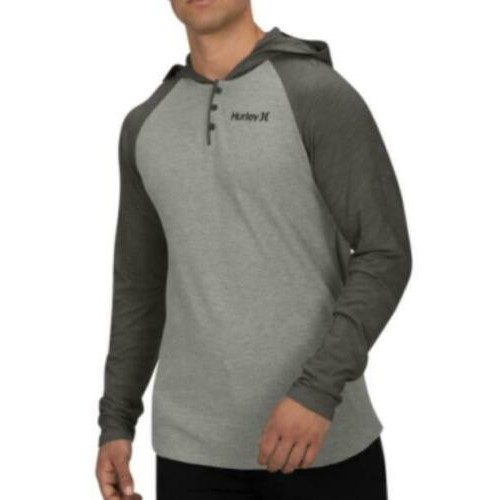 Hurley Men's Colorblocked Thermal Hoodie Gray Size Small