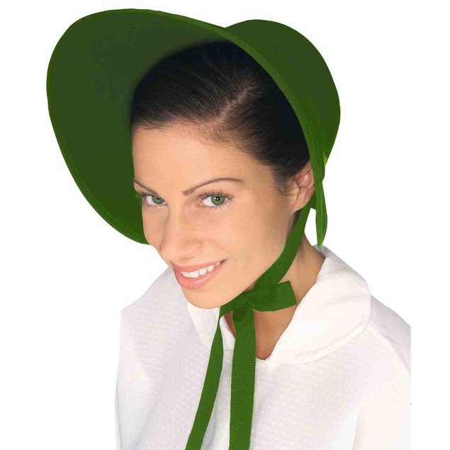 Green Felt Bonnet Colonial Pilgrim Quaker Amish Pioneer Prairie Hat Adult