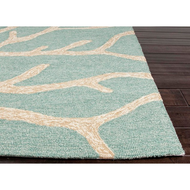 9' X 12' Aqua Blue And Taupe Outdoor Coral Area Throw Rug