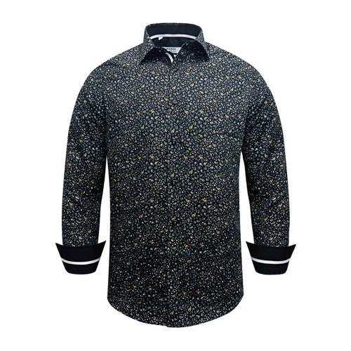 Monza Modern Fit Long Sleeve Black Peacock Dress Shirt