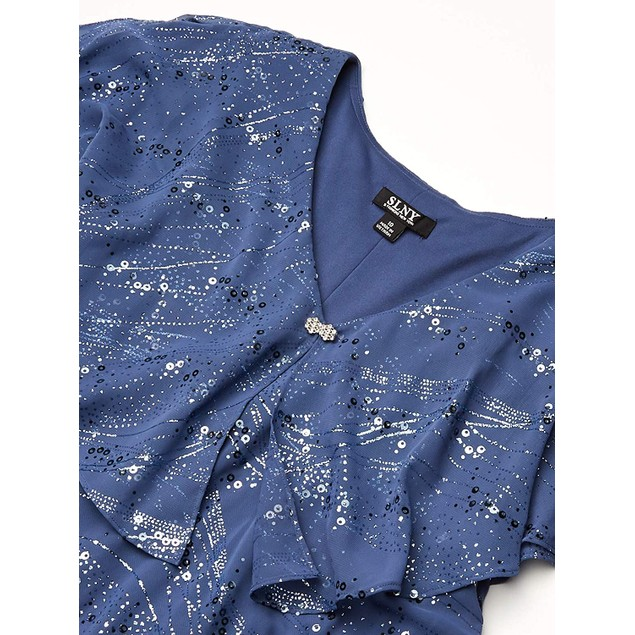 SLNY Fashions Tiered Pebble V-Neck Women's Glittering Ruffle Dress, 6,
