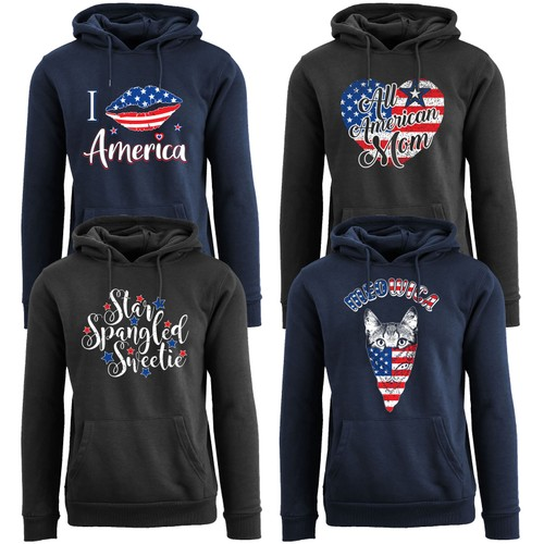 Women's American Girl 4th of July Themed Pull Over Hoodie
