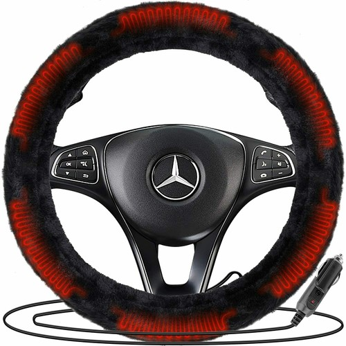 Zone Tech Car 12V Plush Faux Sheepskin Heated Warm Steering Wheel Cover