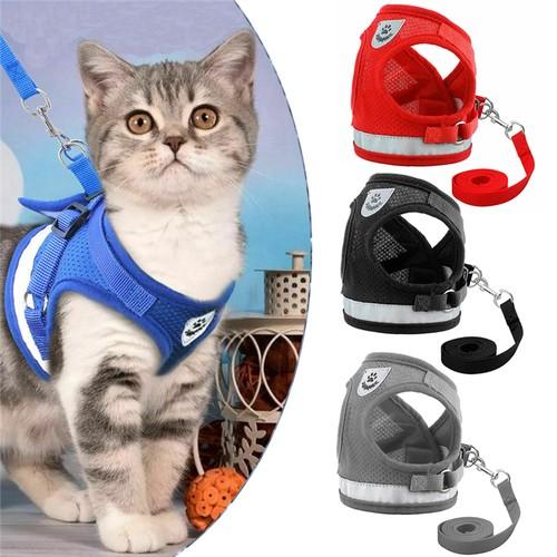 Adjustable Pet Harness Mesh Vest Reflective Walking  Hauling Leash