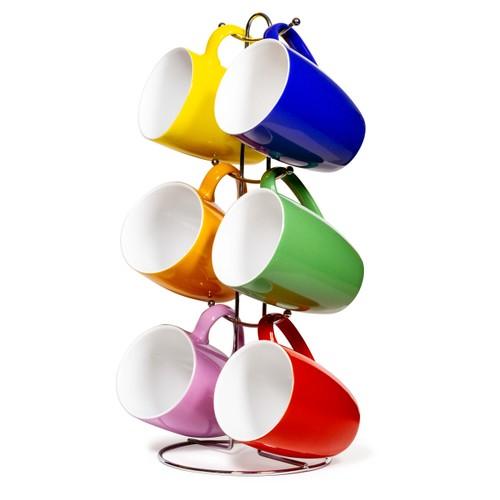 Ceramic Color 12 Oz. Mug set With Metal Tree Stand Rack - Multi Colors