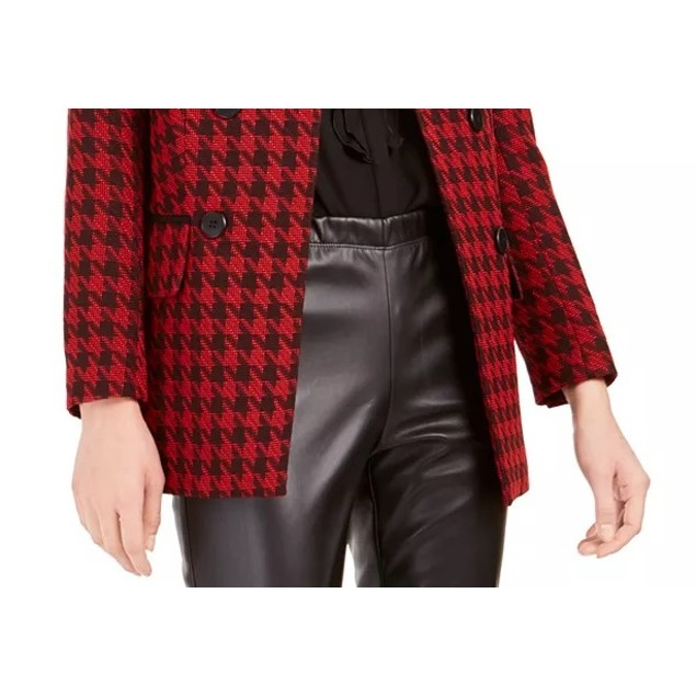 Bar III Women's Houndstooth Collarless Double-Breasted Jacket Black Size 6