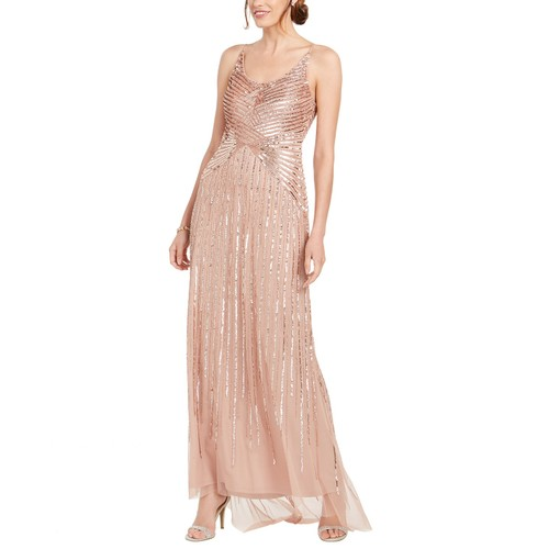 Adrianna Papell Women's Beaded & Sequined Gown Pink Size 8