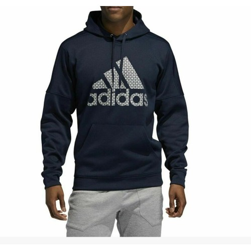 Adidas Men's Team Issue Fleece Logo Hoodie Dark Blue Size Extra Large