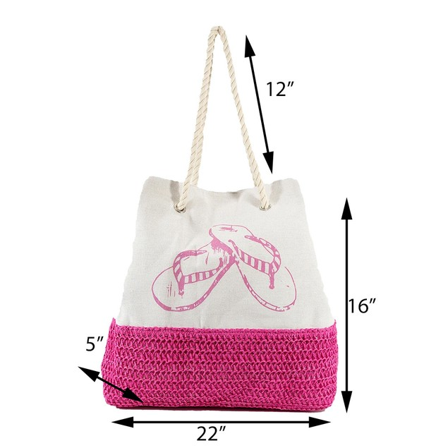 High Quality Canvas and Straw Beach Bag With Sandals Print