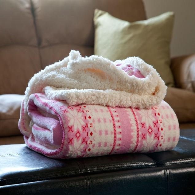 Lavish Home Fleece Sherpa Blanket Throw - Pink Snowflakes