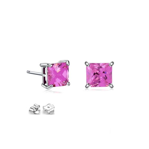 Sterling Silver 6mm Hot Pink Cubic Zircon Square Stud Earrings