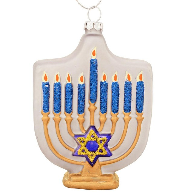 """Silver Blue And Gold Menorah Glass Ornament Holiday 4.5"""" Tall Winter Gift"""