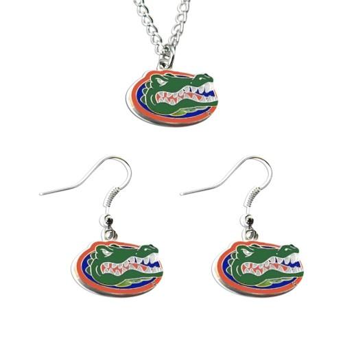 Florida Gators Necklace and Dangle Earring Charm Set NCAA