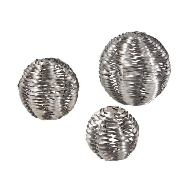Sterling Set Of 3 Metal Work Objects - Silver Leaf