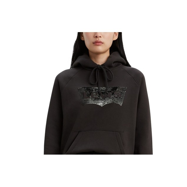 Levi's Women's Sequin-Graphic Sport Hoodie Black Size Small