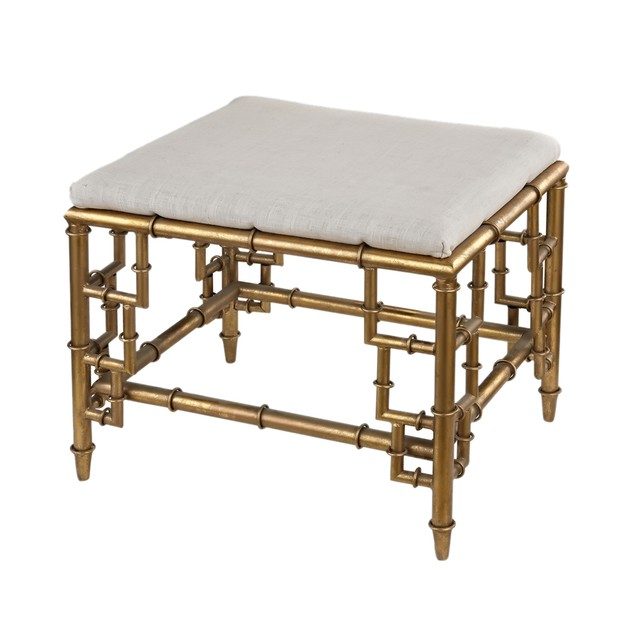 Sterling Stool With Bamboo Frame In Gold Leaf And Linen Seat