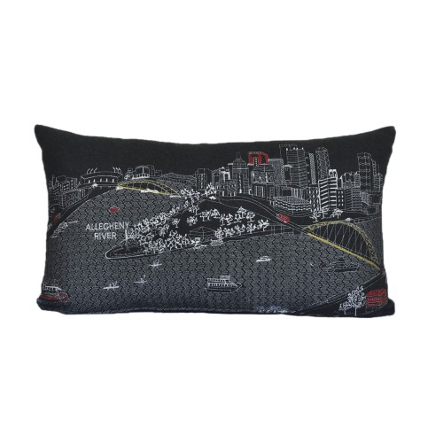 Spura Home Pittsburgh Skyline Embroidered Wool Cushion Day/Night Setting