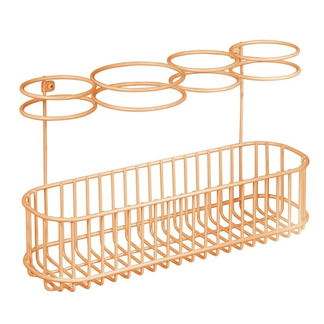 mDesign Metal Cabinet/Wall Mount Hair Care Styling Tool Storage Basket