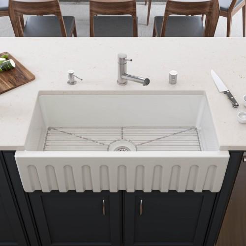 "ALFI AB3618HS-W  36"" White Smooth Apron Single Bowl Fireclay Farm Sink"