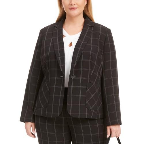 Kasper Women's Plus Size Windowpane Notch-Collar Blazer Black Size 16
