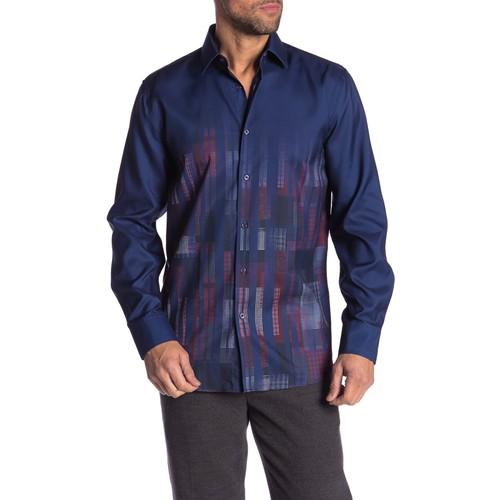 Rosso Milano Modern Fit Long Sleeve Navy Tartan Dress Shirt