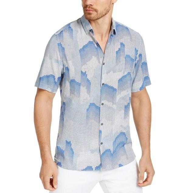 Alfani Men's Fallen Geo Print Shirt Navy Size Extra Large